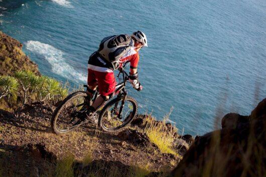 Mountainbiker in actie op La Palma.