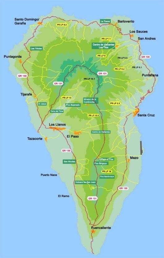 Wandelkaart La Palma